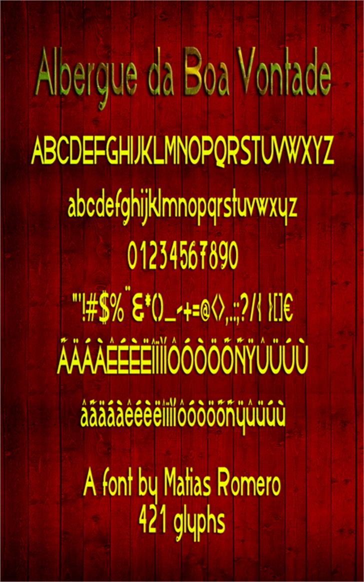 AlbergueBoaVontade Font screenshot outdoor