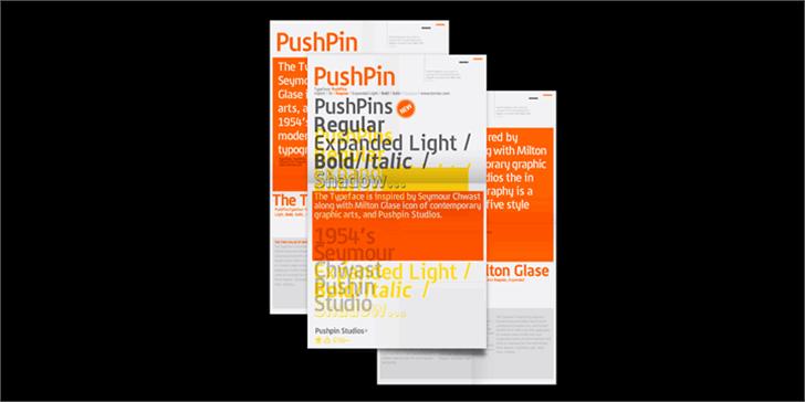 PushPins Font design screenshot
