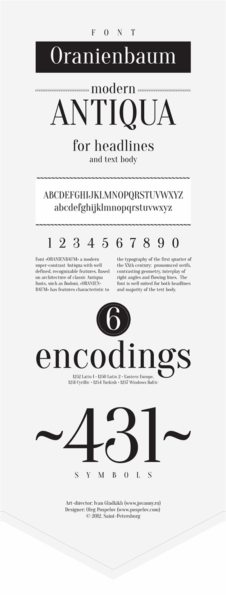 Oranienbaum Font text design