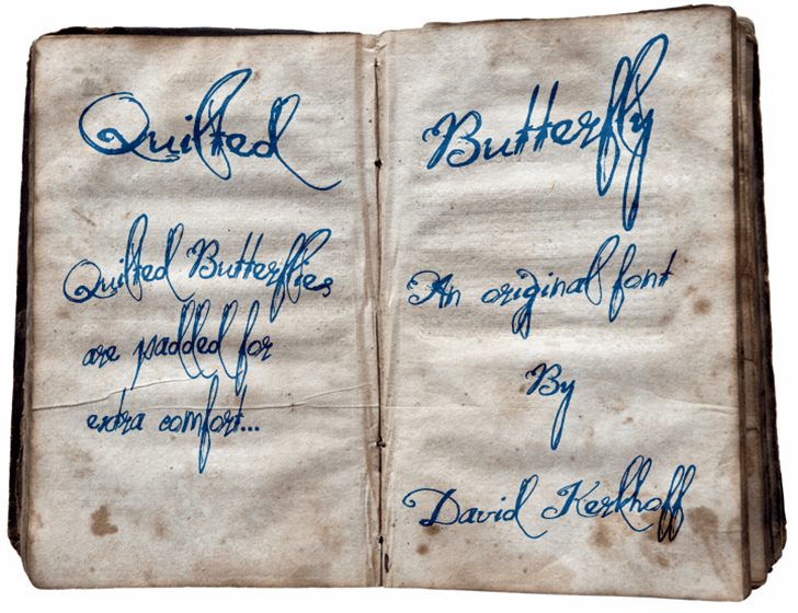 Quilted Butterfly Font handwriting text