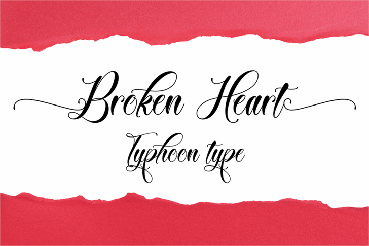 Broken Heart Font handwriting design