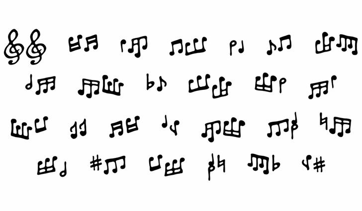 ToneDeafBB Font Letters Charmap