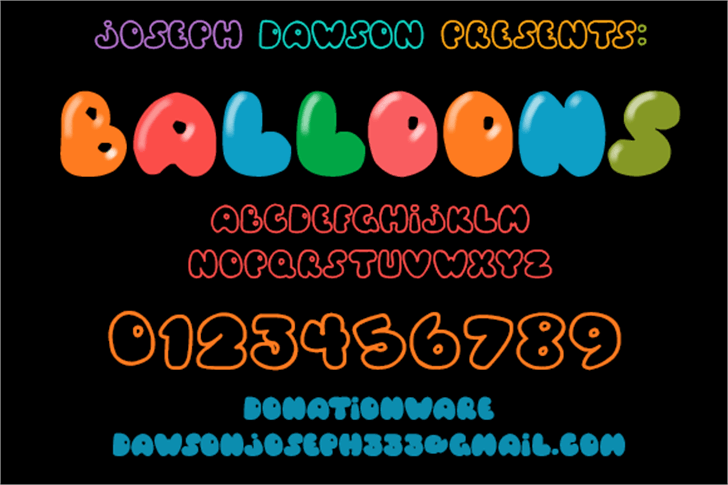 Balloons! Font cartoon screenshot