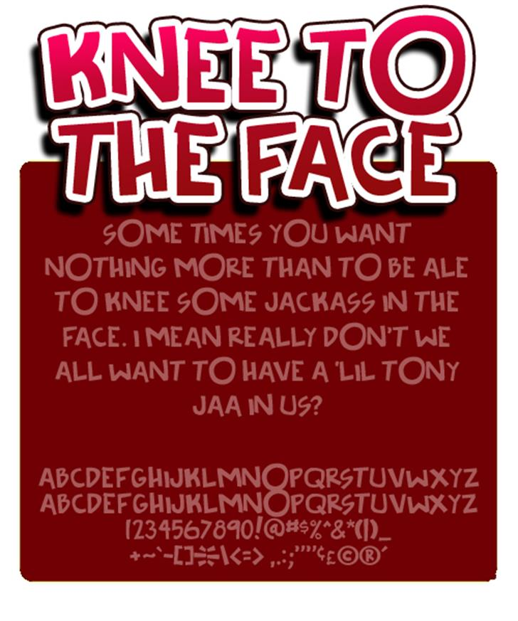 Knee to the face font by Press Gang Studios