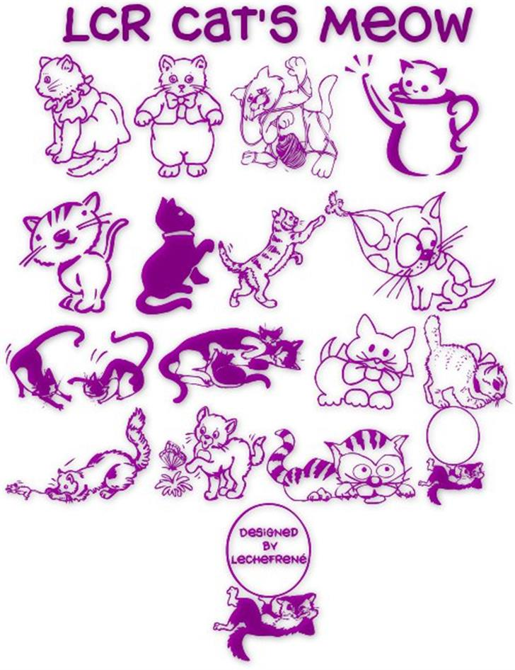 LCR Cat's Meow Font cartoon drawing