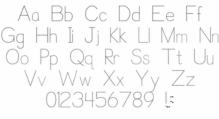 Trace Font for Kids Font Letters Charmap