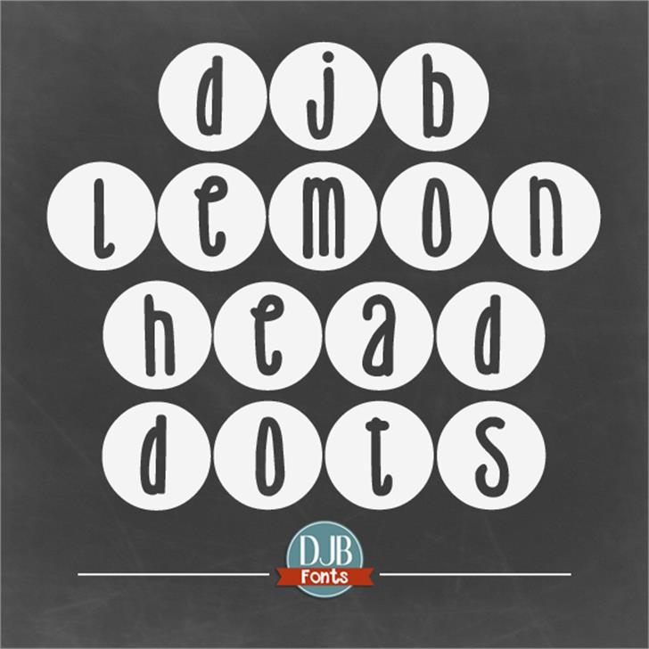 DJB Lemon Head Dots Font screenshot design