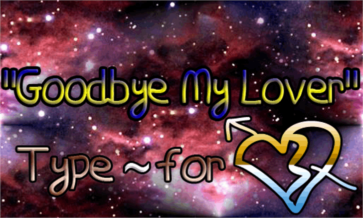 Goodbye My Lover Font screenshot fireworks