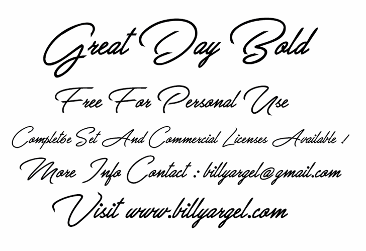 Great Day Bold Personal Use Font handwriting text