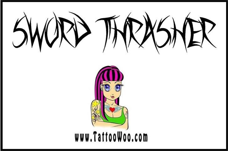 Sword Thrasher Font drawing sketch