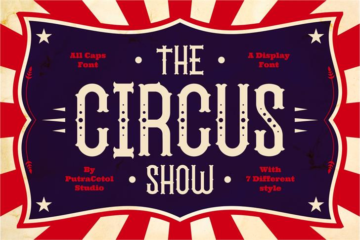 The Circus Show FreeVersion Font text poster