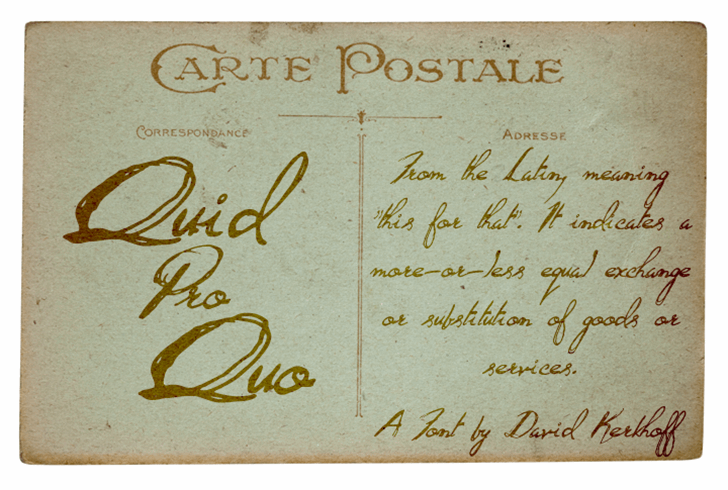 Quid Pro Quo Font handwriting text