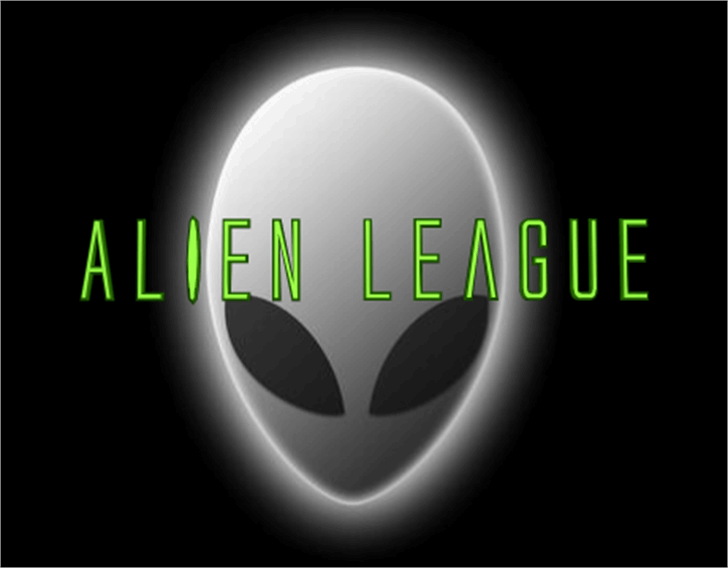 Alien League Font design screenshot