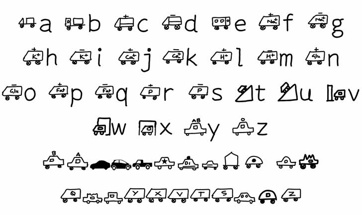 KARAVAN BUS Font Letters Charmap