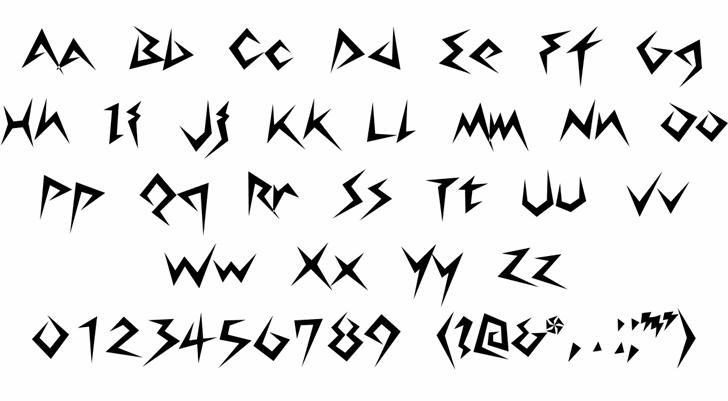 Lightningvolt Font Letters Charmap