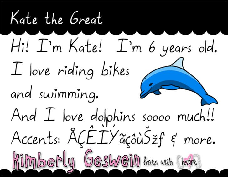 Kate the Great Font fish text