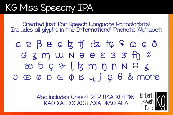 KG Miss Speechy IPA Font text font