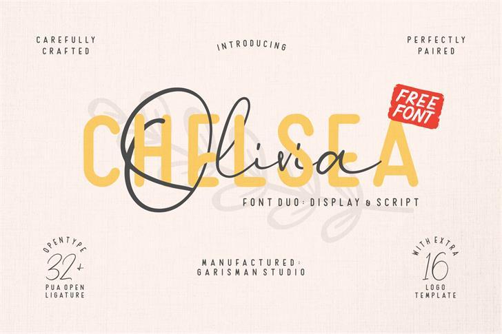Chelsea Olivia Font text design