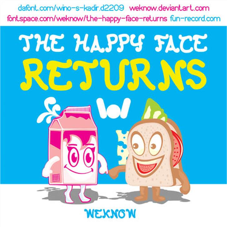 The Happy Face Returns Font cartoon graphic