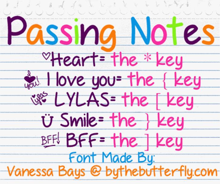 PassingNotes Font screenshot text