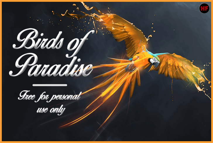 Birds of Paradise  Personal use font by Herofonts