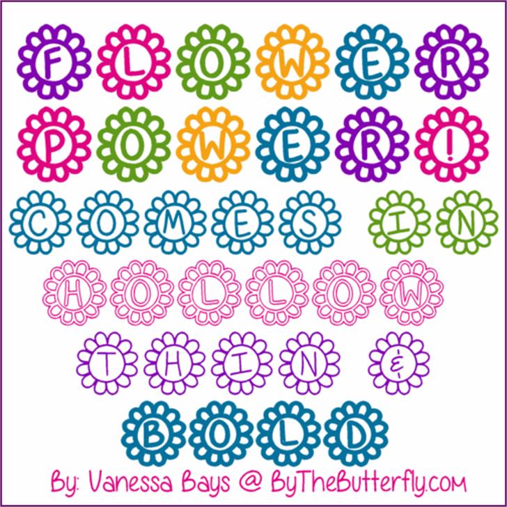 Flower Power Font pattern illustration