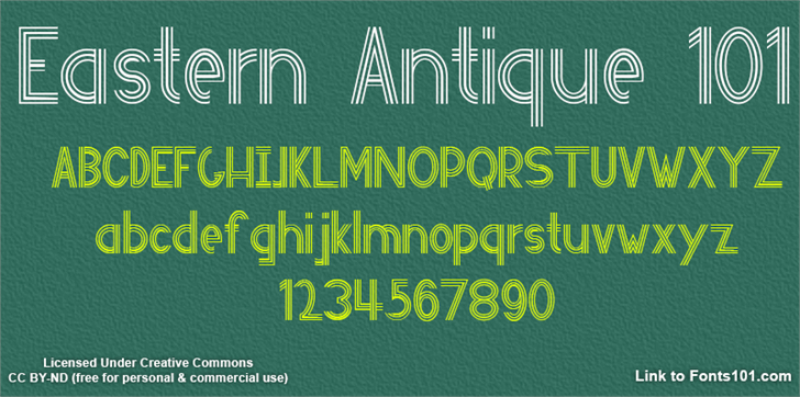 Eastern Antique 101 Font text book
