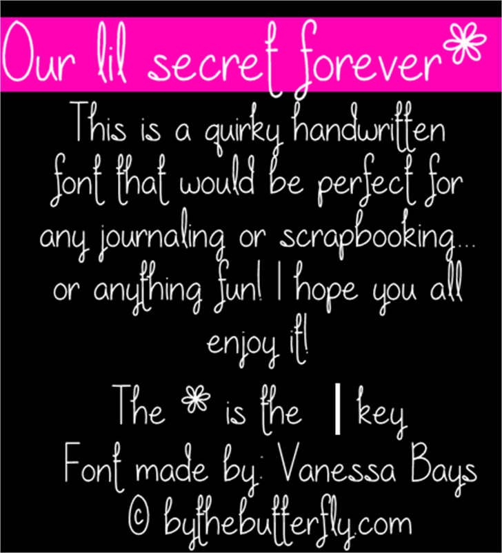 Our lil secret forever font by ByTheButterfly
