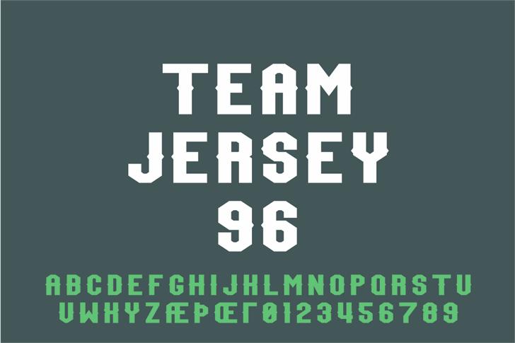 Team Jersey 96 Demo Font design screenshot