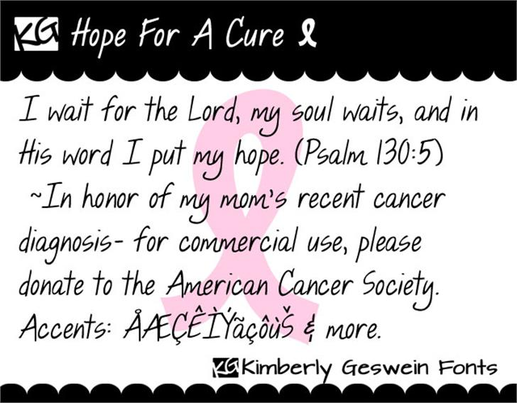KG Hope For A Cure font by Kimberly Geswein