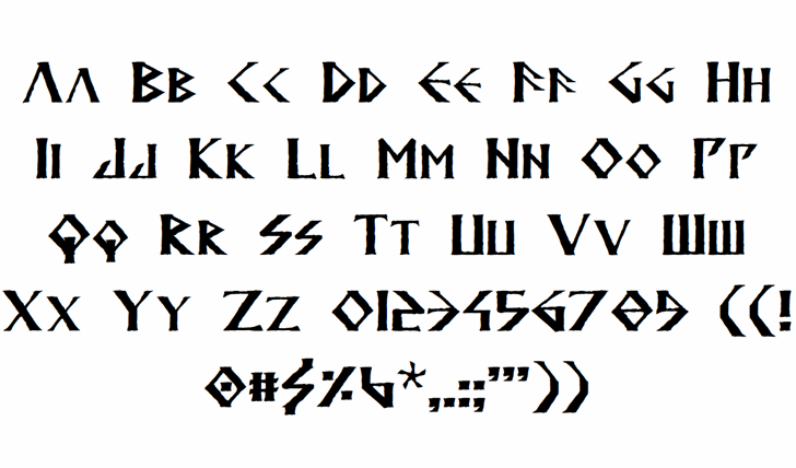 Anglodavek Font Letters Charmap