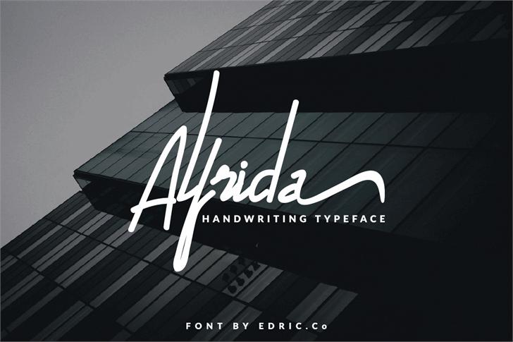 Alfrida Font design graphic
