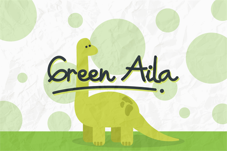 Green Aila Font cartoon drawing