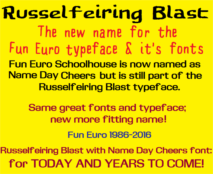 Fun Euro Font yellow text