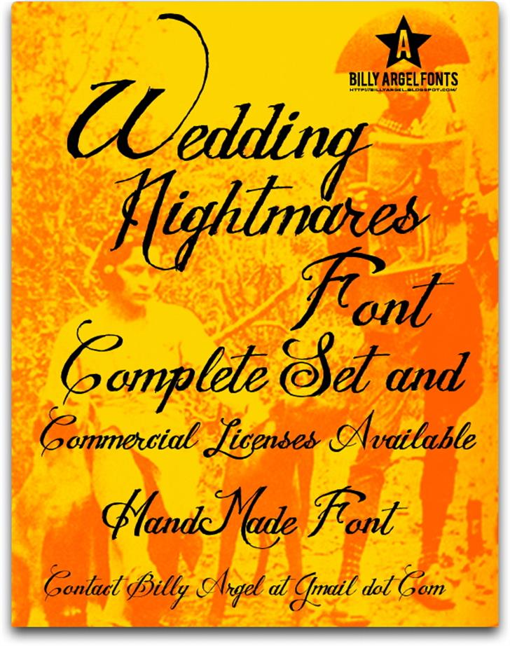 WEDDING NIGHTMARES Font text handwriting