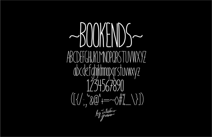 BookendsWithAccents Font text design