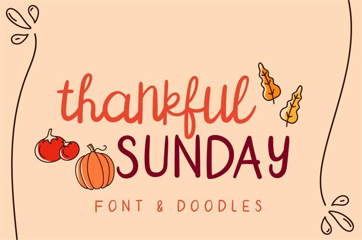 Thankful SUNDAY Font cartoon text