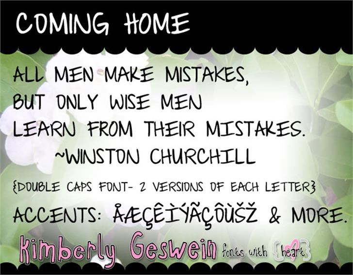 Coming Home Font text handwriting