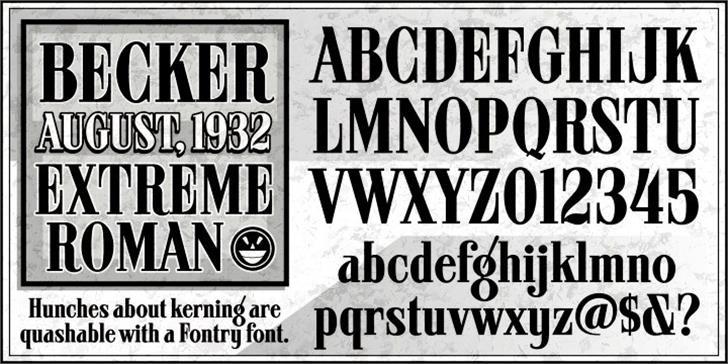ARB 08 Extreme Roman AUG-32 CAS Font text poster