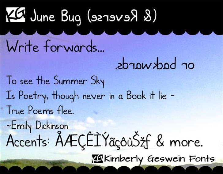 KG June Bug Font text handwriting