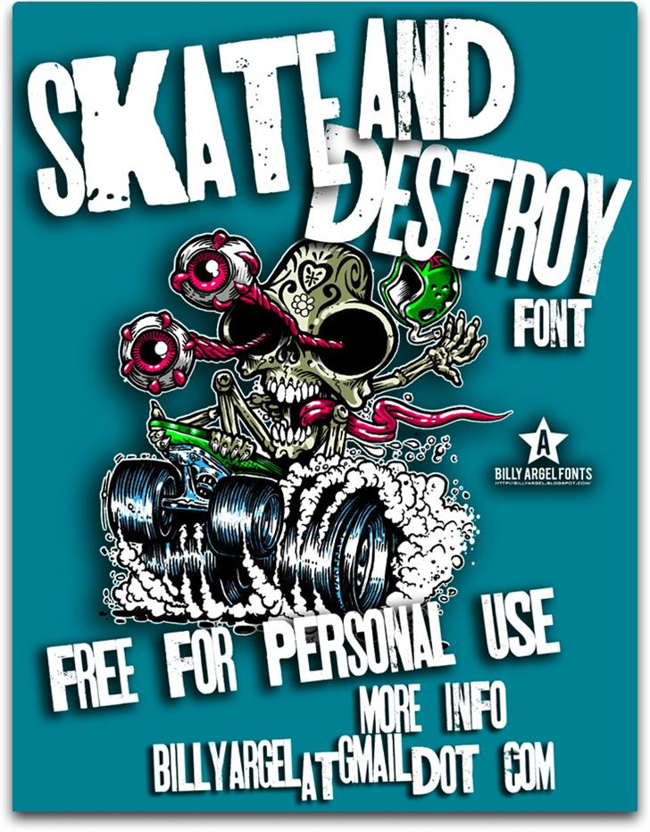 SKT AND DESTROY Font poster cartoon