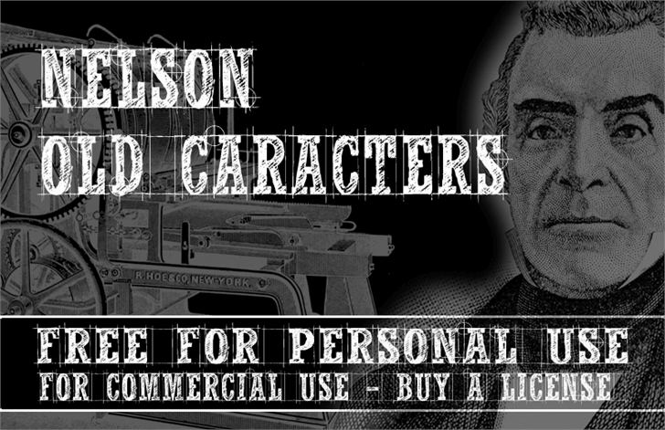 CF Nelson Old Caracters Font text poster