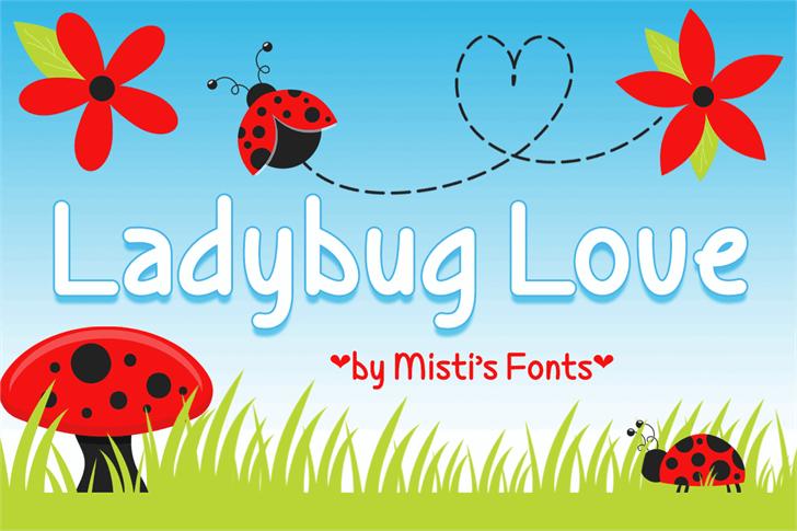 Ladybug Love Demo Font cartoon vector graphics