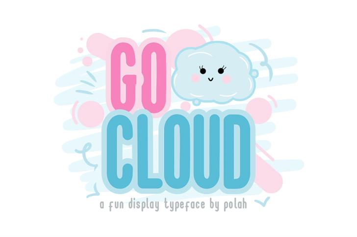 Go Cloud Font cartoon design