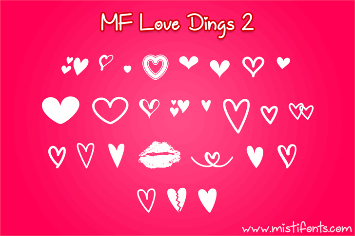 MF Love Dings 2 Font heart valentine's day