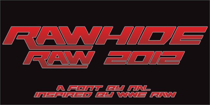 Rawhide Raw 2012 Font design screenshot