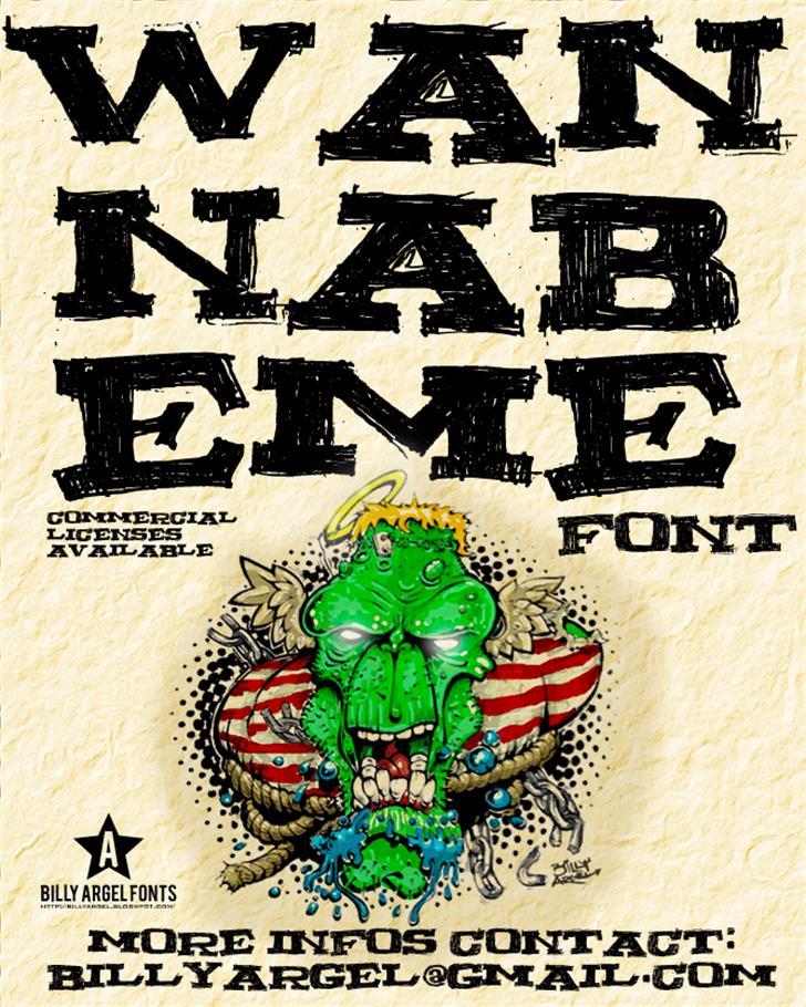 WANNABEME Font text cartoon