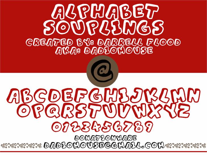 Alphabet Souplings Font screenshot design