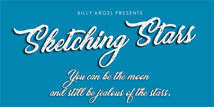 Sketching Stars Personal Use Font design text