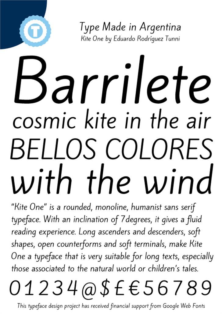 Kite One Font screenshot font